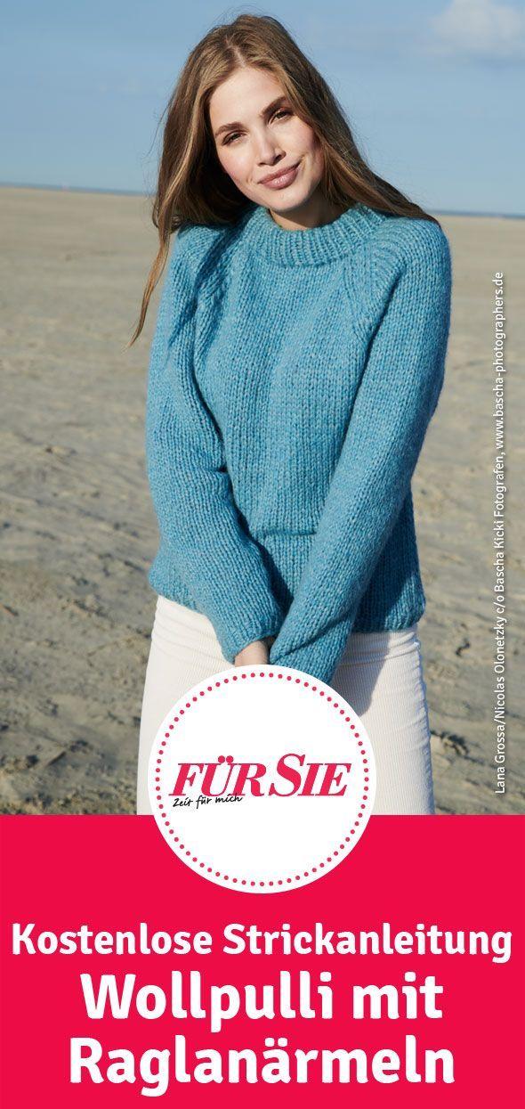 Wollpulli mit Raglanärmeln   Pullover stricken   Pinterest ...