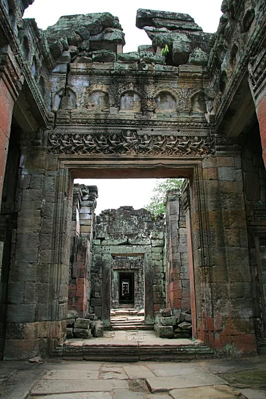 Ancient doorways - , Siem Reab Photographer's Note This was taken in one of the temples in the Angkor Wat vicinity - PREAH KHAN. Whatever is left in the ruins that is ...multiple doorways leading to sections after sections of the temple.