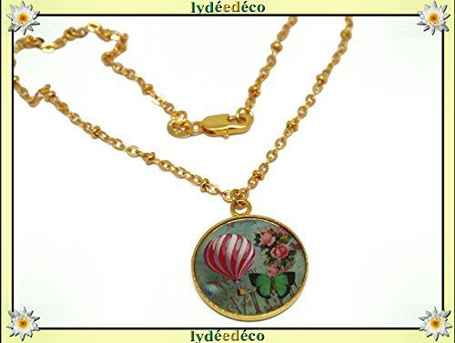 Collier Montgolfiere Laiton Dore Or Fin 24 Carats 24k Rose Vert