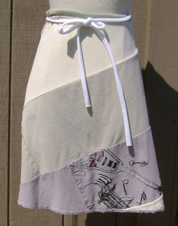Knee Length Wrap Recycled T Shirt Skirt Upcycled by DianeSladeInc, $72.00