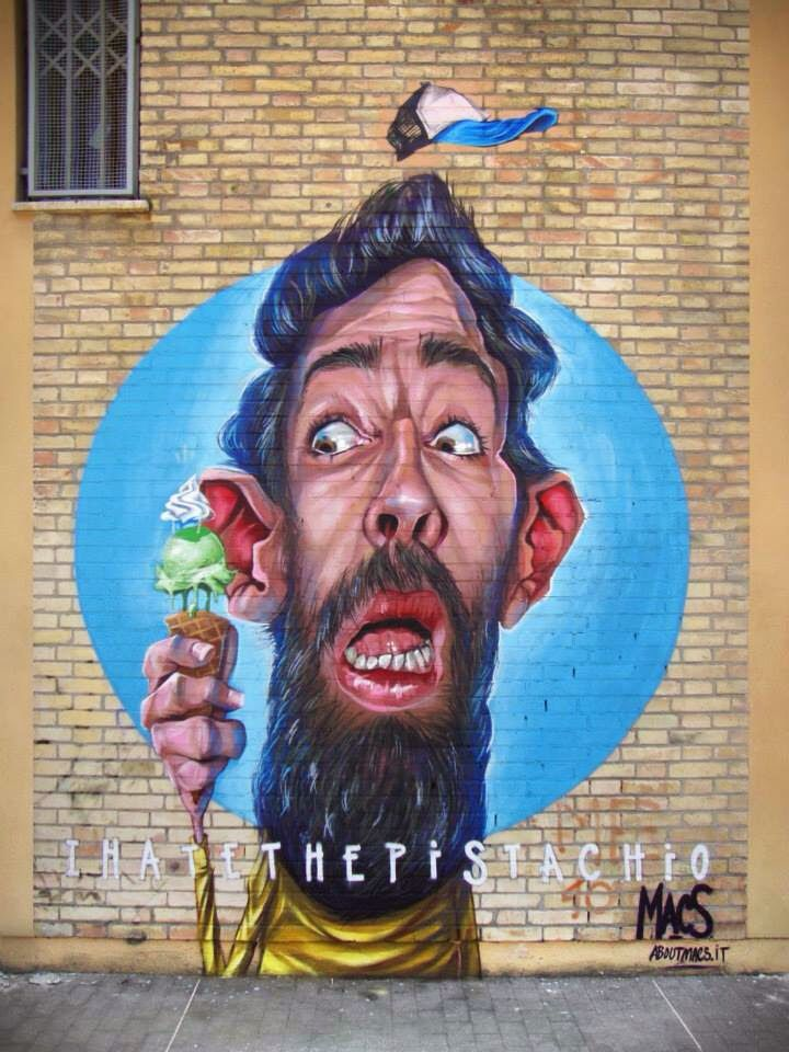 """by #Macs - #Newmural: """"I hate the pistachio"""" - Lanciano, Italy - 14.06.2014"""