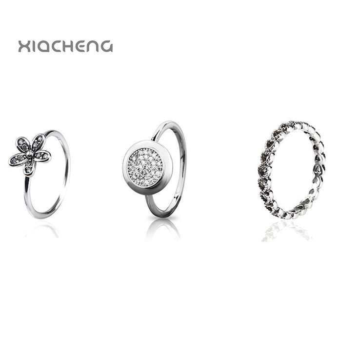 2017 100% 925 Sterling Silver European Style Flower Rings For Women Party & Wedding Crystal Pandora Ring Women  Jewelry
