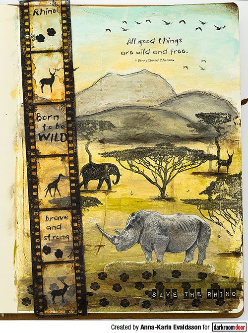 Safari Art Journal Page with Filmstrip Border Stamp Tutorial by Anna-Karin Evaldsson. Made for the Darkroom Door blog, using the Filmstrip Border and Wild Africa stamps. Journal, paints and ink by Ranger ink, and Dina Wakley Media Tape.