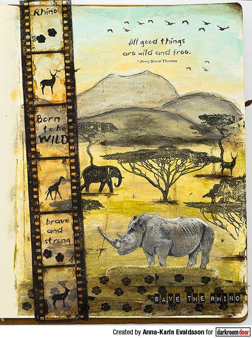 Art journal page by Anna-Karin Evaldsson using Darkroom Door Filmstrip Border Stamp and Wild Africa Rubber Stamps.