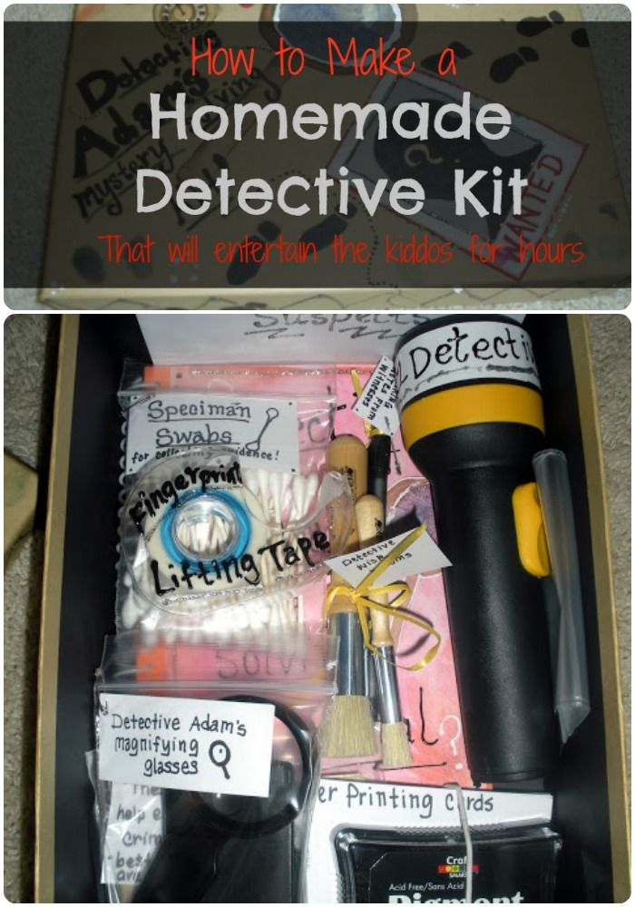 Homemade Detective Kit - kids can help - especially with ideas - this is for younger kiddos - wonder if we could make it just as cool for older kids.