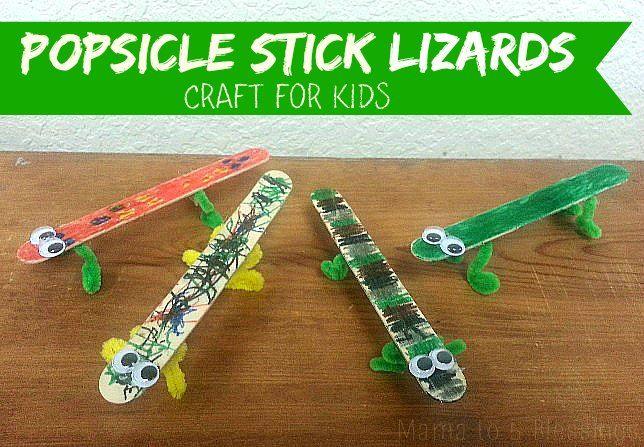 Popsicle Stick Lizards - Kids Craft http://mamato5blessings.com/2015/05/popsicle-stick-lizards-kids-craft-learn-link-linky/