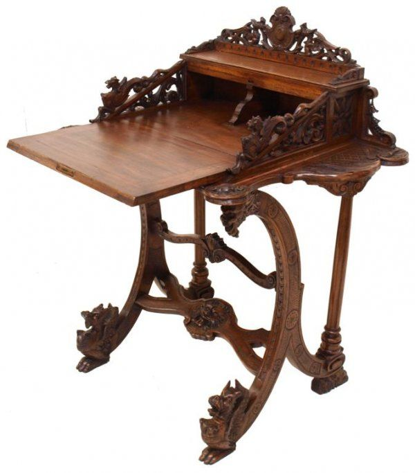 ORNATE ANTIQUE FRENCH ROCOCO REVIVAL WRITING DESK : Lot 231