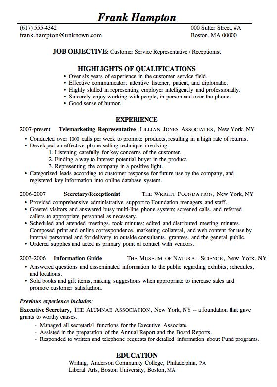 17 best resume images on Pinterest Cover letter sample, Resume - resume of receptionist at a front desk