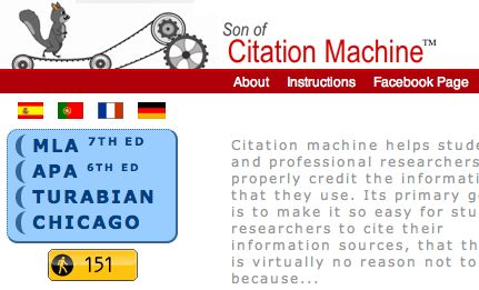 Citation Machine  - Link back from blog to home for citation entry.  Amazing help in citing resources quickly and accurately.