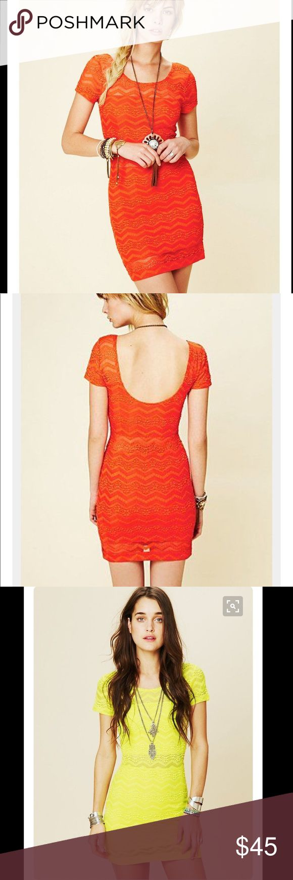 FREE PEOPLE-Geo Print Lace Bodycon In Orange! 🔥💋 FREE PEOPLE-Geo Print Lace Bodycon In Orange! 🔥💋 EUC. Only worn maybe once. Looks brand new! Gorgeous bright color!! Sexy lace & low back! This is the newest hot item!! So trendy & sexy!! Accentuates all your lovely curves!! Don't miss out on this great price!! No flaws that I am able to detect! No stains, pulls, odors or tears! Pet/Smoke Free Home!! Absolutely gorgeous!! Bundle & Save!! 😊💖🔥💋🤤🤘🏼⭐️👑🌈 Free People Dresses