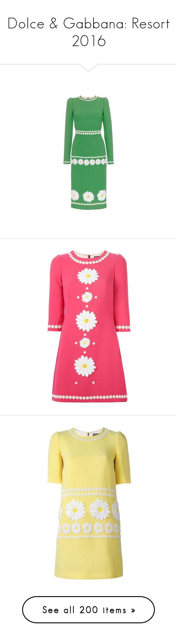 """Dolce & Gabbana: Resort 2016"" by livnd ❤ liked on Polyvore featuring Dolce, Resort2016, livndfashion, livnddolceandgabbana, dresses, pink circle skirt, 3/4 sleeve dresses, pink skater skirt, flared skirt and skater skirt"