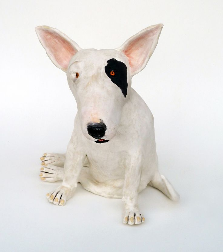 "Paula Bellacera: Bullie T. (Terrier), 14"" x 11"" x 10"", 2011, handbuilt, low-fire clay, glaze, underglaze"
