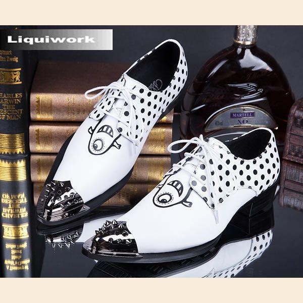 White Polka Dot Leather Studded Punk Rocker Rockabilly Oxford Shoes Men  SKU-1280656