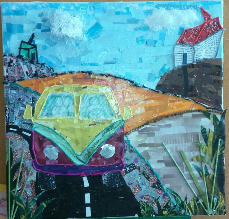 Mixed media canvas art - Vintage van... Handmade canvas made from recycled materials ( paper, fabric, cotton thread and chopsticks).