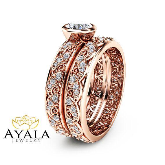 Vintage Engagement Ring Set 14k Rose Gold Bezel Set Diamond Rings