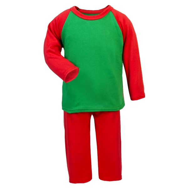 bou0853 - Christmas Red & Green Contrast Long Sleeve Unbranded Pyjama 5-6y