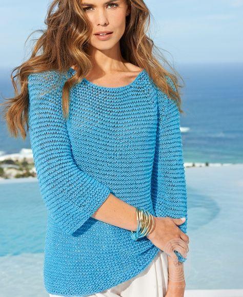 Пуловер с рукавами реглан, схема вязания на сайте Люди Вяжут
