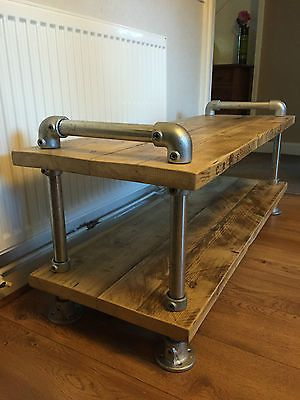http://www.cadecga.com/category/Tv-Stand/ TV stand/ coffee table reclaimed Scaffold plank urban industrial