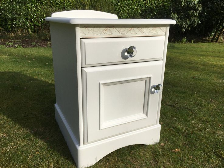 Hand Painted Solid Pine White Bedside Cabinet by Maylouiseinteriors on Etsy