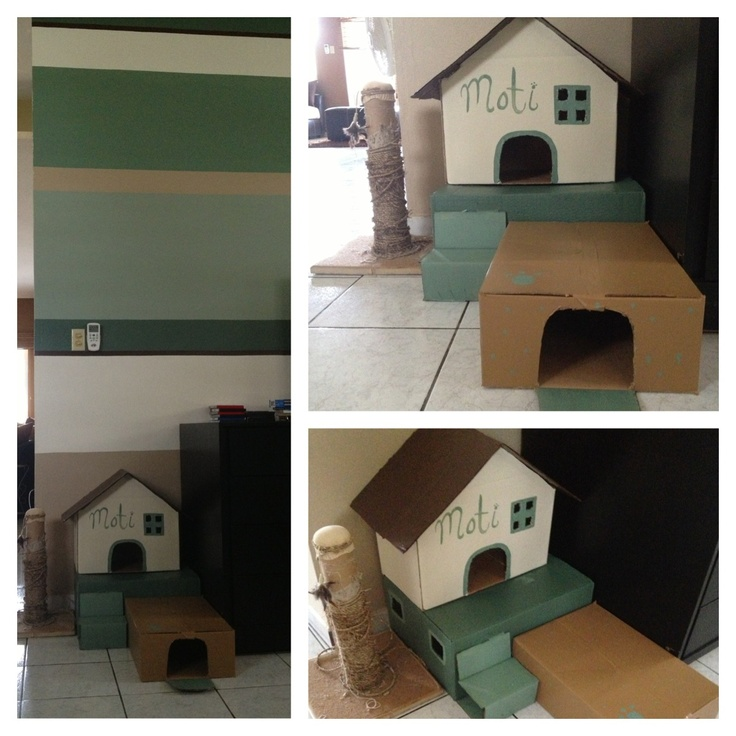 A house I made for my cat out of boxes and the leftover paint of my living room! <3