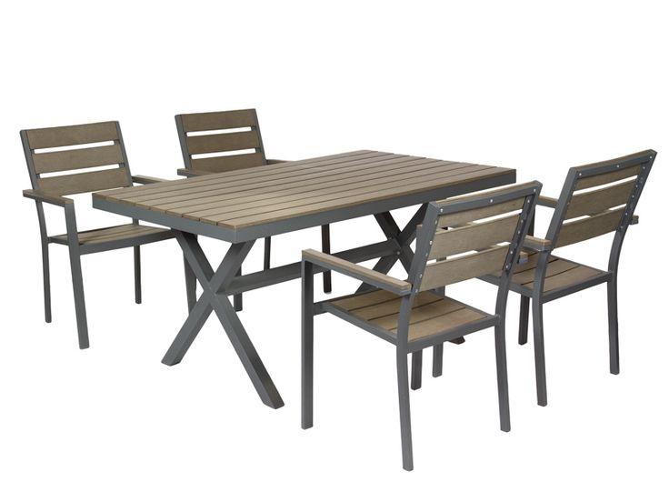 Conjunto mesa m s 4 sillas de aluminio gris y fibra sint tica en marr n - Muebles jardin fibra sintetica ...