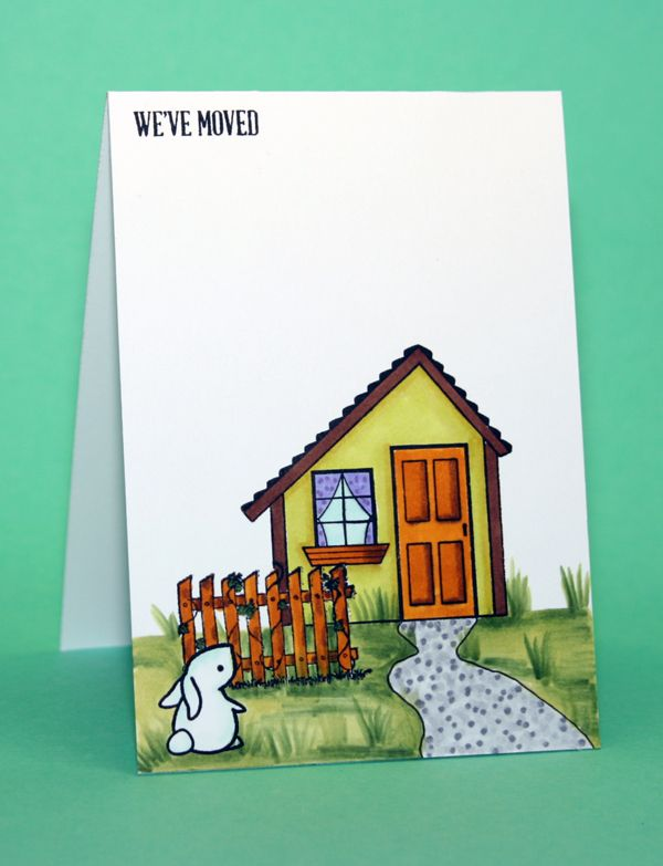 Uniko home sweet home for the house and sentiment, Avec stamps craftshouses for the fence and Lawn Fawn Hello baby for the bunny. Spectrum Noir for the colouring