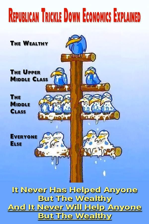 The One Percent say that they practice Trickle-Down economics but we know what they're really dropping on us