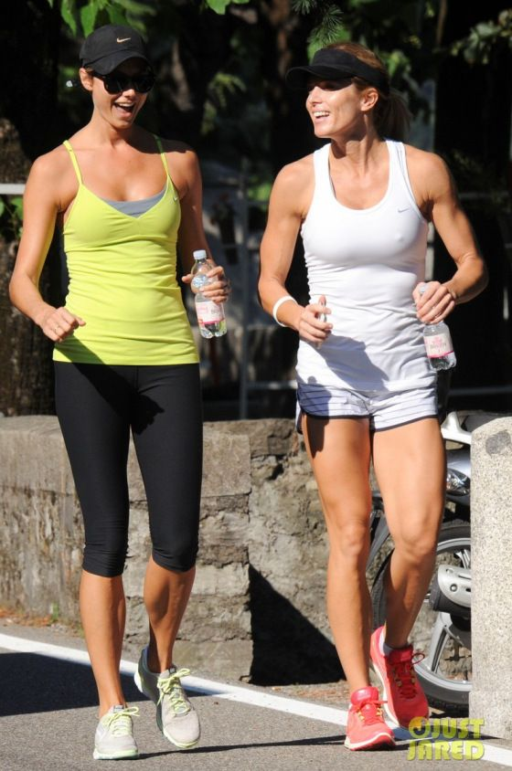 Stacy Keibler and Torrie Wilson jogging in Laglio, Lake Como