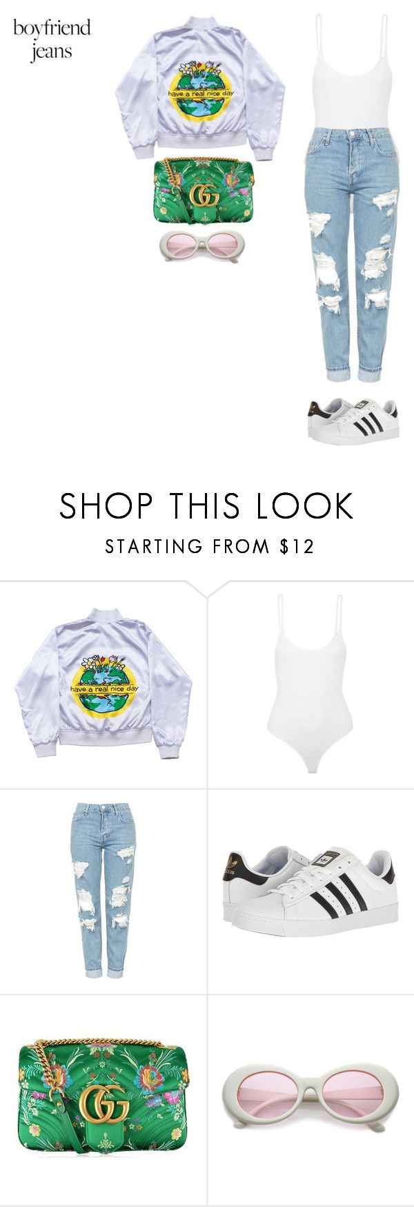"""""""bless the flower that grew from the concrete"""" by xoxotiffvni on Polyvore featuring ATM by Anthony Thomas Melillo, Topshop, adidas, Gucci and boyfriendjeans"""