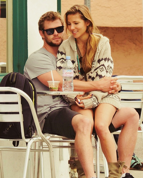 Chris Hemsworth and Elsa Pataky. Jealous but they do look cute together
