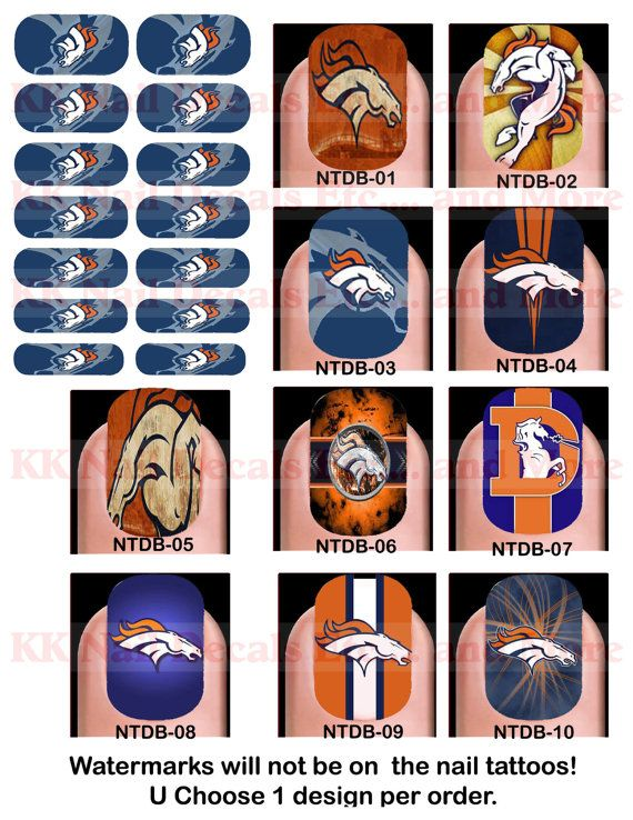 You had me at the first glimpse of those pretty nails Baby!Nail Tattoo Decals - Denver Bronco!