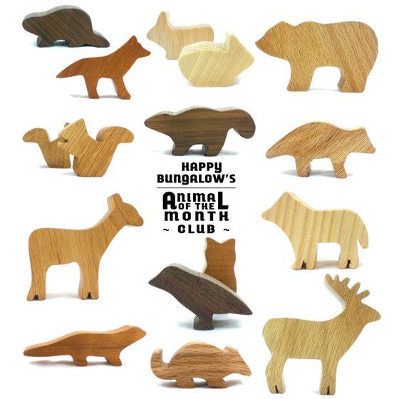 Welcome to Happy Bungalow's Woodland Animal Toy of the Month Club! For 12 consecutive months, you (or anyone you designate) will receive a new, natural wood toy(s). Each month a box filled with a fun