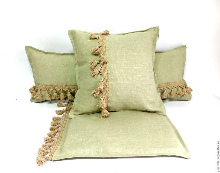 Купить Льняные подушки серо-зеленые - зеленый, серый, Подушки, декор гостиной, подушки для дома