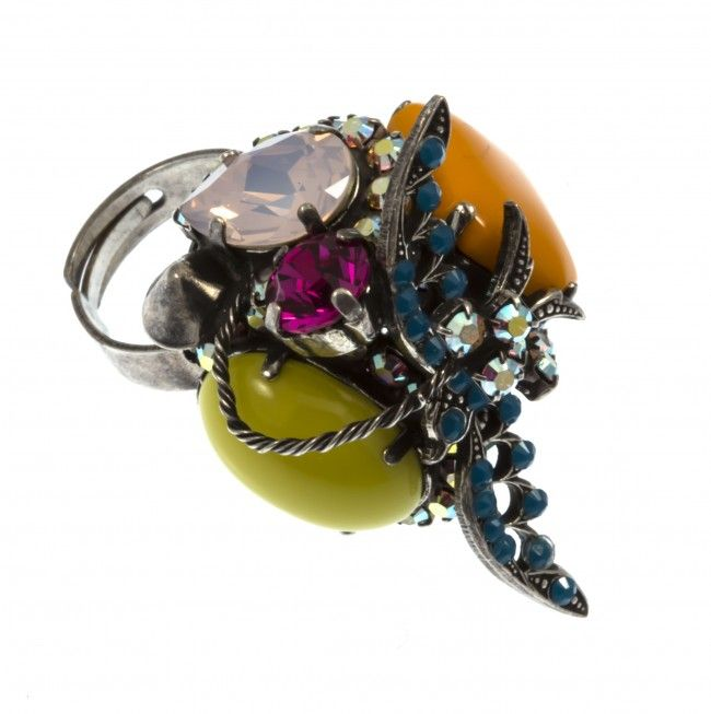 """Asclepias"" ring with Swarovski strasses, by Art Wear Dimitriadis -Handmade-"