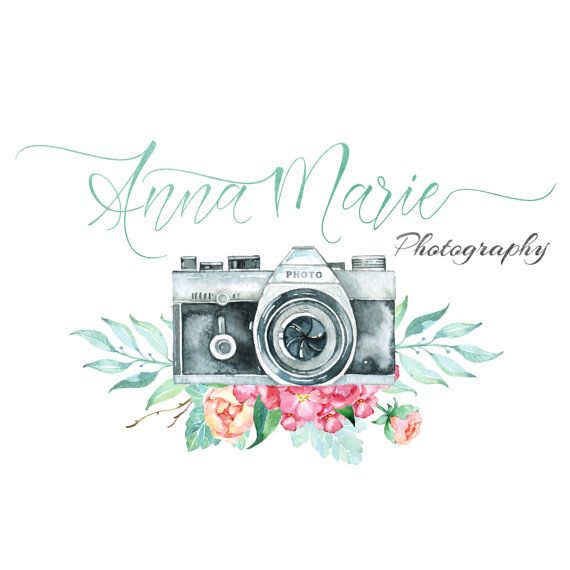 Premade Logo Watercolor Camera & Floral by LaughingWillowDesign