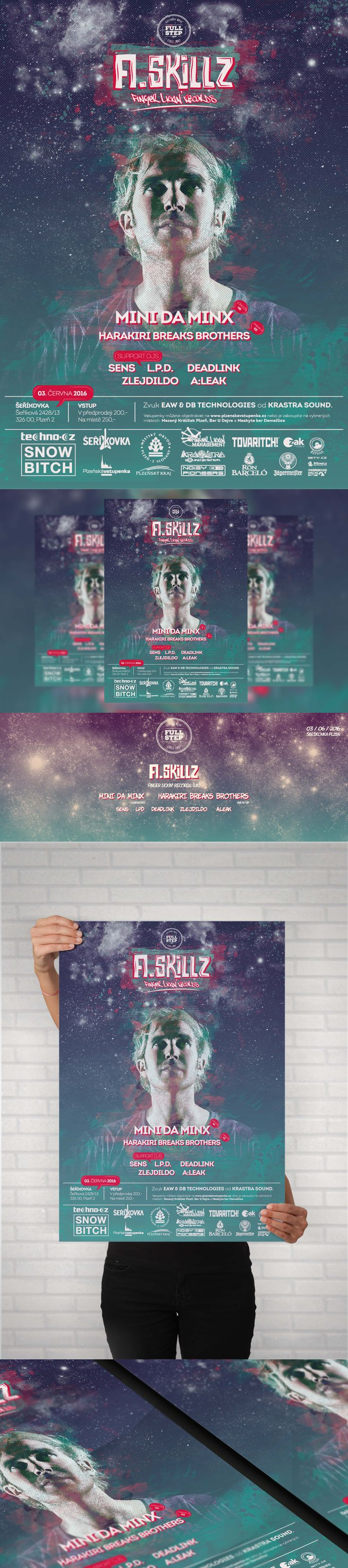 Full Step with A-Skillz  Electronic music event - A3, A4, A5 Poster, Facebook event header and preview. #poster #posterdesign #fbheader #graphicdesign