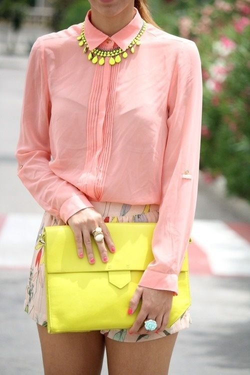 Neon! A big trend this season. The neon accessories add a fun edge to this feminine outfit.