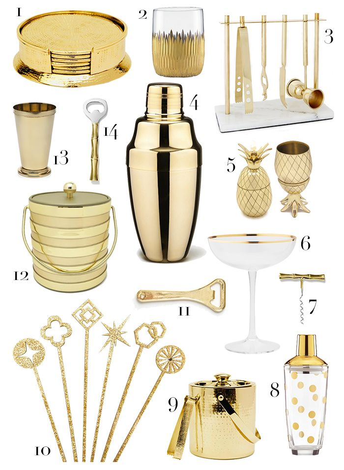 1. Pigeon & Poodle coasters // 2. Marchesa by Lenox old fashioned glasses // 3. West Elm bar tool set // 4. Yukiwa gold-plated cocktail shaker // 5. The Fowndry pineapple cup // 6. Indigo gold rim glasses // 7. Houzz corkscrew // 8. Kate Spade cocktail shaker // 9. Pigeon & Poodle ice bucket // 10. Chairish drink stirrers // 11. Douglas and Bec bottle opener // 12. Sears ice b...