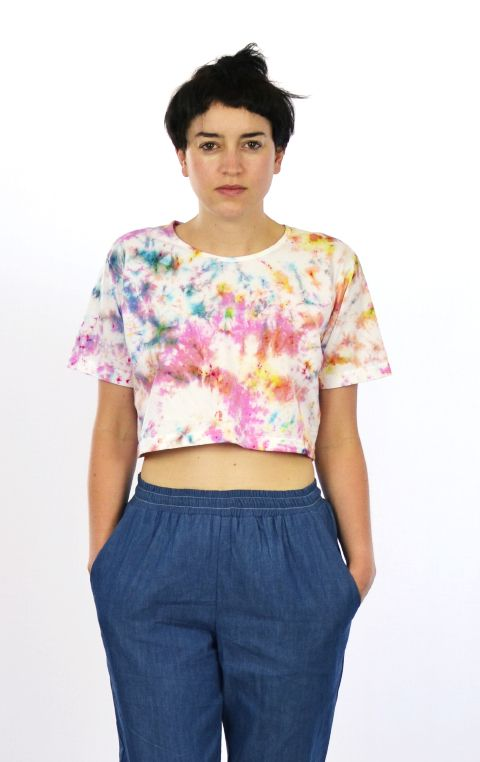 """""""Rainbow Connection"""" hand dyed cropped cotton t-shirt by @Ghostly"""