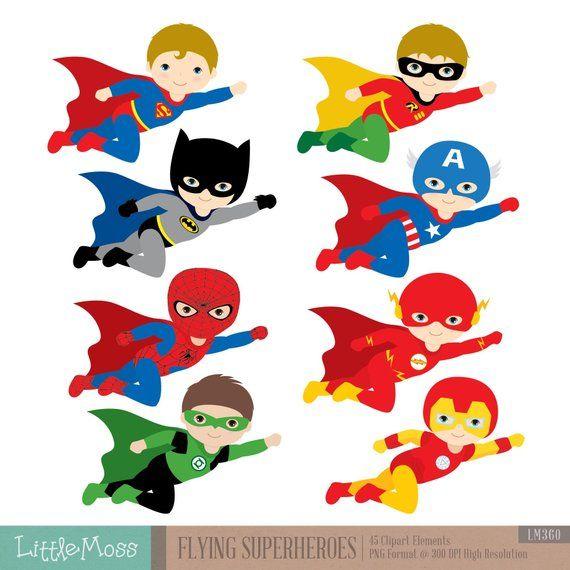 Flying Superhero Clipart Superheroes Kids Clipart Etsy Ninos Superheroes Decoraciones De Super Heroes Superheroes Infantiles