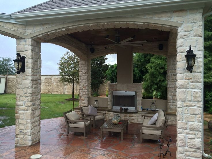This Houston Outdoor Sitting Area Gets Warmed Up In The Cool Season With  This Gas Fireplace