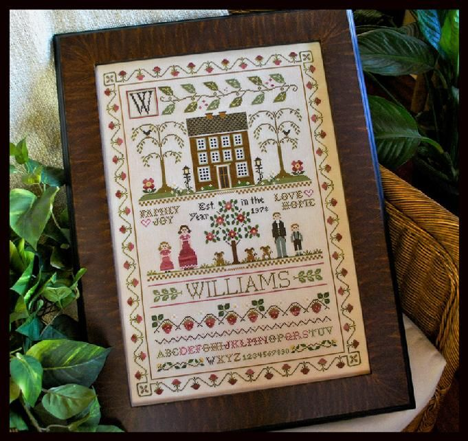 The Family Sampler by Little House Needleworks.  Pattern pack: chart - 2 pages of design elements, one sample layout page to allow you to design your own individual family piece.  Size linen and a list of DMC colours used at this link.