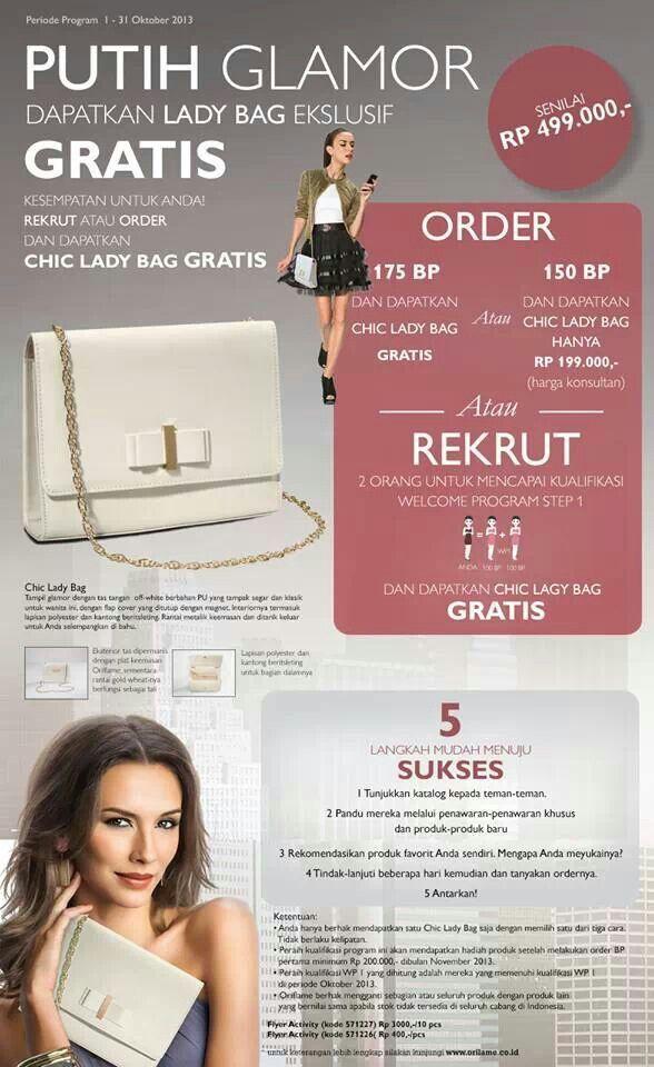 Promo Oriflame di bulan Oktober 2013.. mau banget deh dapet tas putih cantik inii.. ^_^