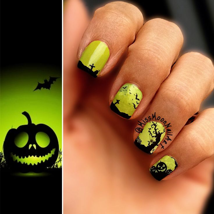 Spooky mood 🎃 #batnails #design #graveyard #myhobby #mylife #nailart #nailpolishaddict #nails2inspire #nails #naildesigns #spookynails #halloweennails #halloween2016 #almosthalloween #tuesday #midweek #glowinggreen #creepynails #pumpkin #halloweenpumpkin #october #pumpkinmonth #missmoonnailart #greenandblack #opi #essie #themorethemerrier #adornnails #nailstoinspire #waterdecals
