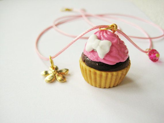 Handmade pink cupcake necklace with a pink by PigAndPeppercrafts