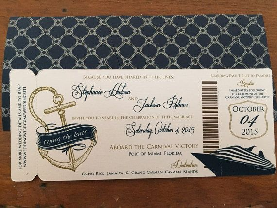 Cruise Wedding Invitation Boarding Pass by TheStylishScribe