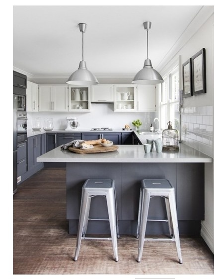 Gray casework with white counters