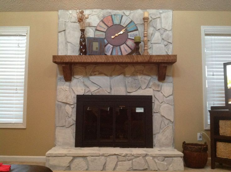 Whitewashed Stone Fireplace Mix 1 2 Pint Of Water Based Paint With 2 Cups Of Water Or More If