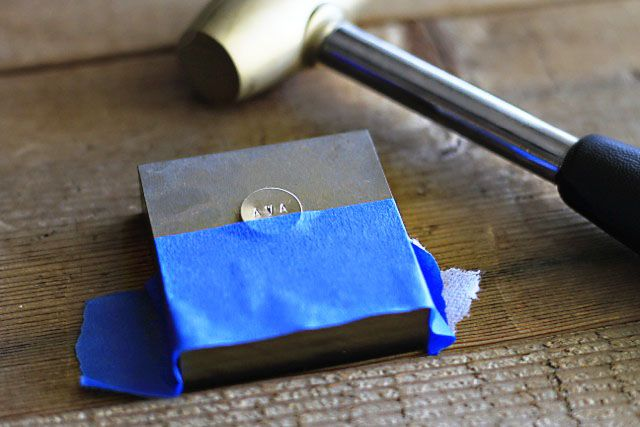 Hand Stamped Metal Jewelry Tutorial ~ Must try! Painter's tape is a great tip! @ecrafty #ecrafty #stampedmetal