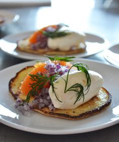 Swedish potato pancakes. Serve with caviar and lemon creme fraiche. (Or without caviar for a more vegetarian dish)